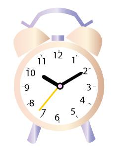 ピンクの目覚まし時計10時10分