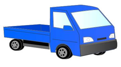 青色の荷物を運ぶ車
