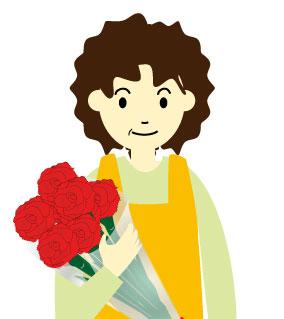 カーネーションの花束をもらったパーマおばさん