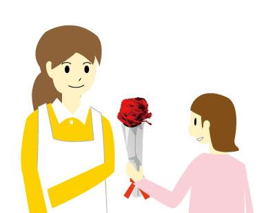 女の子から母親にラッピングしたカーネーションを贈る