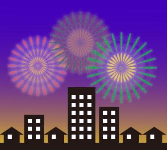 オフィスビルや一軒家が並ぶ住宅街から打ち上がるハナビ