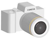 白の一眼レフカメラの小さいサイズ