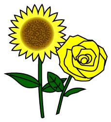 ヒマワリと黄色のバラ