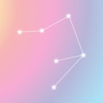レインボーカラーのバックと星で作るライブラの星図線