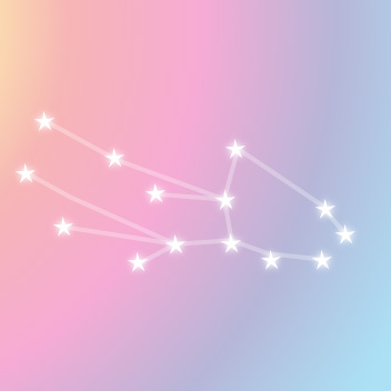 星で作る乙女座の星図AND虹色背景