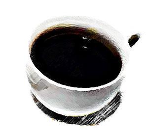 上から見たコーヒー白黒