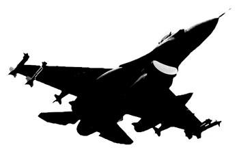 戦闘機の下から見上げたシルエット