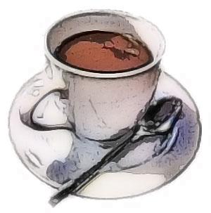 コーヒーとスプーンとお皿