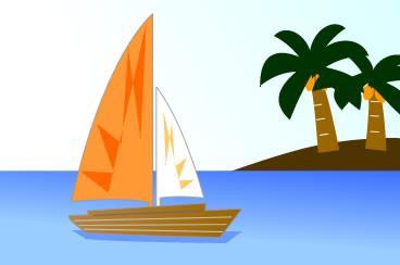 南国の島とヨット