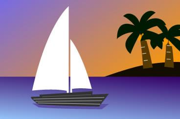 夕暮れ時に海に浮かぶヨット