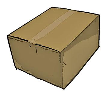 ガムテープで留めた段ボール箱