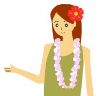 ハイビスカスの髪飾の女性
