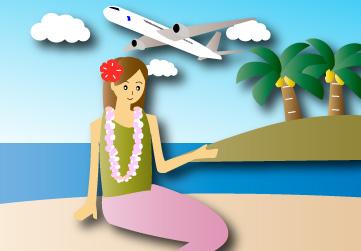 ジャンボジェット機で行く南の島旅行
