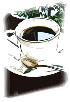 テーブルの上のコーヒーと葉