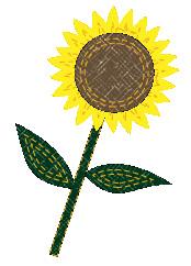 布で作った向日葵のワッペン(アップリケ)