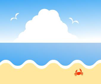 入道組と空飛ぶカモメと砂浜を歩く蟹