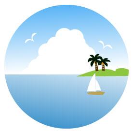 海に浮かぶヨットとヤシの生える島