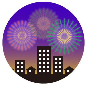 丸型/都会の打ち上げ紫