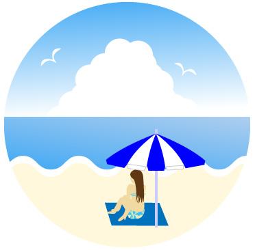 入道雲と海を見ながら砂浜に座る女性