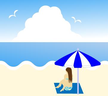 ビーチパラソルの下で海を眺める水着女性