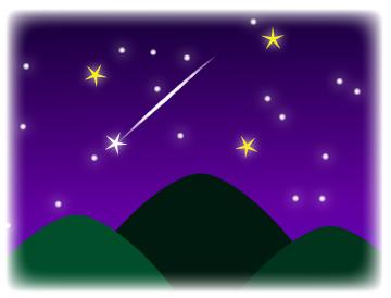 夏の星空(大三角)と流れ星