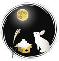お供え物と名月を見上げる白兎