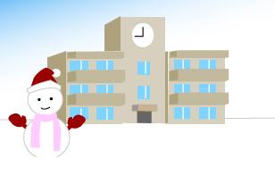冬の季節と雪だるまと学校