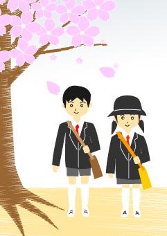 桜の木と入学式の小学生
