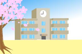 桜の花弁が舞う学校校舎