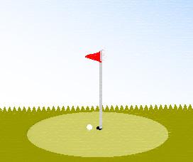 手書き風のグリーンと旗とゴルフボール