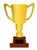 金色のトロフィー(優勝カップ)