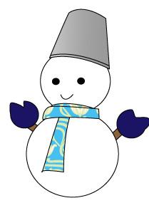 バケツとマフラーと手袋をつけた雪だるま