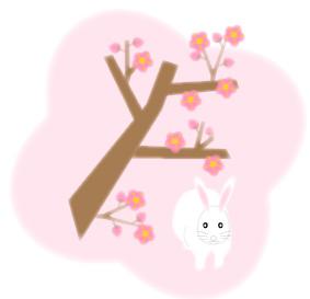 兎(うさぎ)と梅の木とピンクの背景