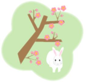 兎(うさぎ)と梅の木