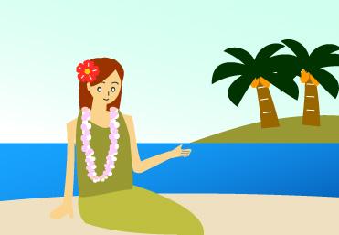 島と海とハイビスカスの髪飾りをつけた女性