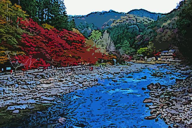 紅葉と渓谷の小川
