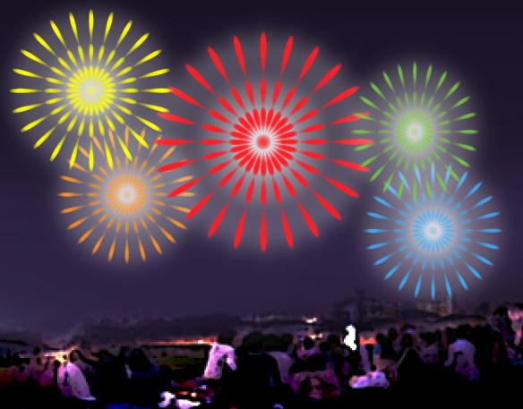 花火大会を河川敷で見物する大勢の観客
