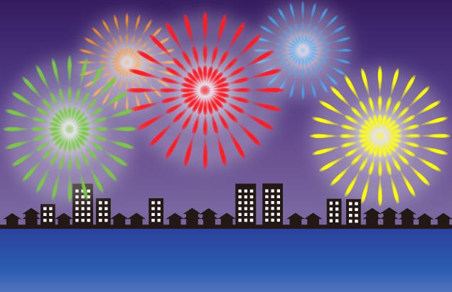 川岸の対岸から鑑賞する大花火大会