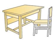 学校の机と椅子(木製)