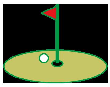 大きいサイズのグリーンと旗とボール