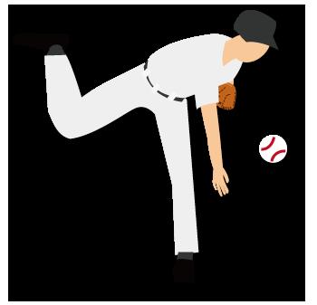 大きいサイズの青年ピッチャーがボールを投げた瞬間