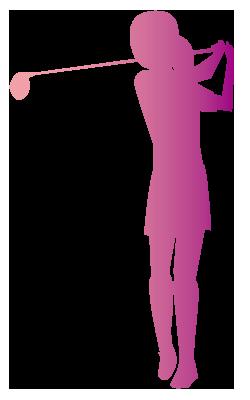 大きいサイズの女性ゴルファーのフルスイングシルエット