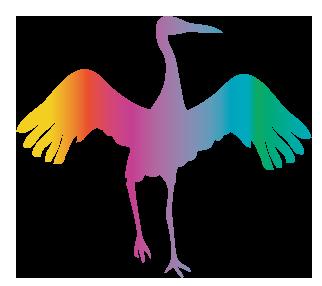 大きいサイズの虹色の鶴・鳥・シルエット・つる・ツル