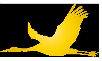 大きいサイズの金色の飛空飛ぶ鶴