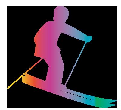 大きいサイズの虹色スキー
