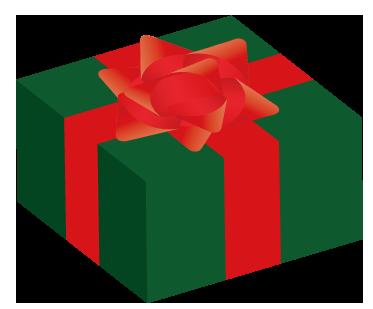 大きいサイズの緑と赤のクリスマス用プレゼント