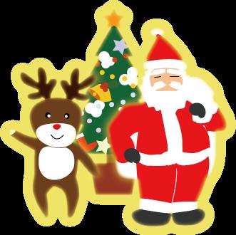 大きいサイズのクリスマスツリーとサンタクロースとトナカイ小