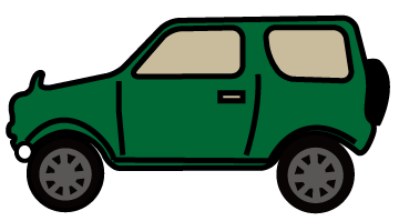 大きいサイズの真横から見た緑の四輪駆動車