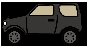 大きいサイズの黒のRV車横向き