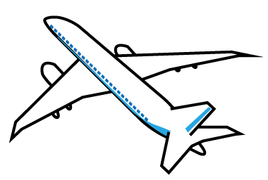 大きいサイズの斜め上から見た飛行機